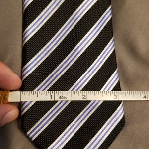 Countess Mara Black Blue White Striped Tie W Tags